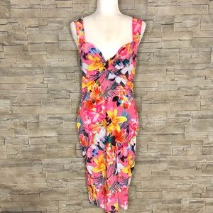 Lipsy London pink tropical bodycon dress
